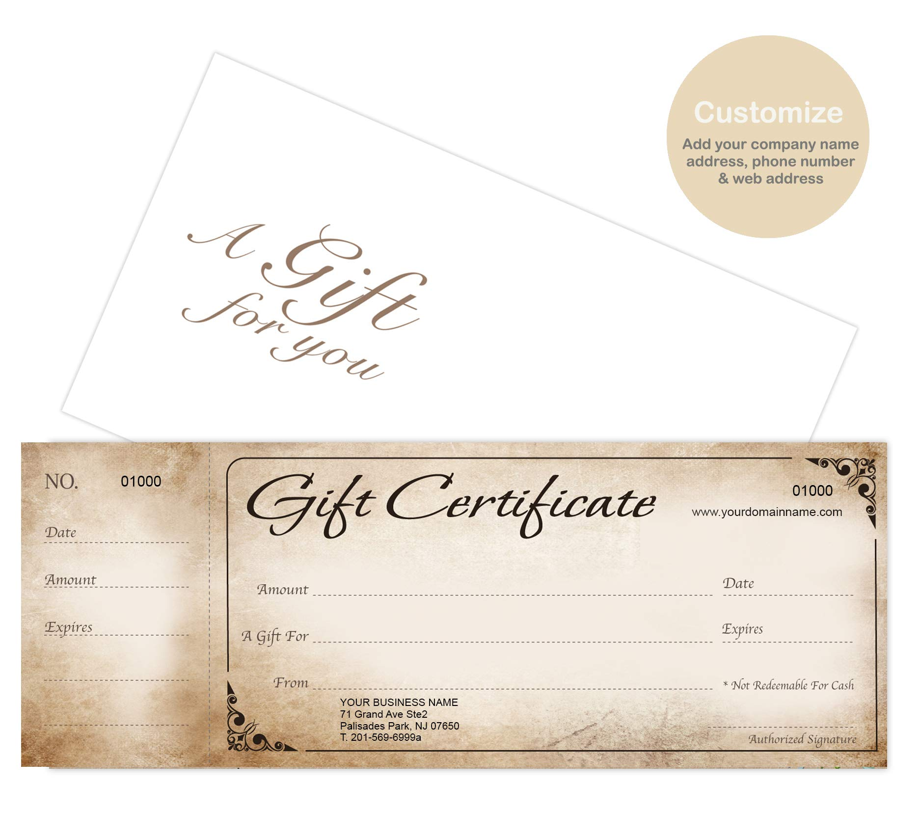 Custom Gift Certificates Cards with Envelopes 100 set - Rustic Image - Gift Coupons,Vouchers for Holiday, Christmas,Spa,Makeup,Hair Beauty Salon,Restaurant,Small Business by IMPACTONLINEPRINTING