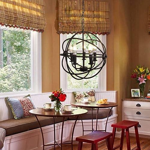 Ridgeyard 5-Light Black Industrial Chandelier Metal Orb Ceiling Hanging Vintage Rustic Retro Pendant Globe Cage Round Sphere E12 Loft Style