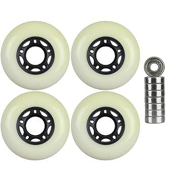 Paquete de 4 ruedas para patines de hockey en línea para exteriores, color negro y rodamientos de 9S, 72 mm: Amazon.es: Deportes y aire libre
