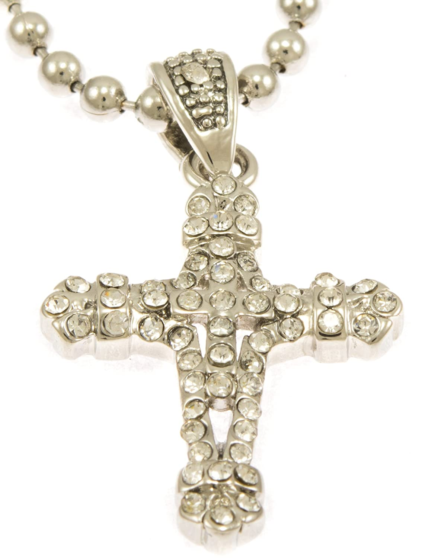 "Hot New Silver Tone Internal Cross Mini Pave CZ Stones Pendant Necklace Free 30"" Ball Chain#2"
