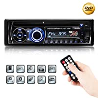Favoto 12V Car Stereo Single DIN Multi EQ Modes Car FM Radio DVD Player/CD Bluetooth Support Remote Control Via Smartphone Charger for Electronic Devices Supporting U Disk, Micro SD Card