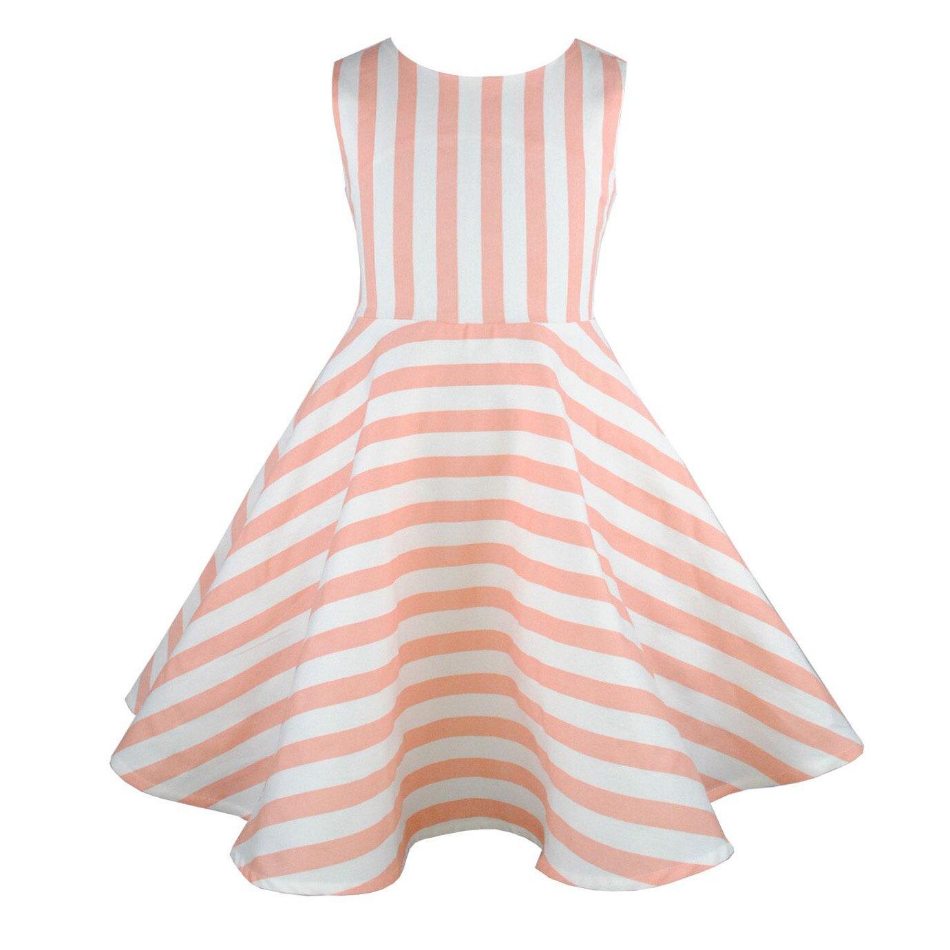 HCABL Girls Casual Sleeveless Swing Dress, Organic Cotton, Summer Stripe, 2T-16 Girls(5)