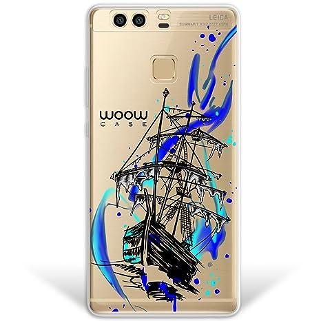 WoowCase Funda Huawei P9 Plus, [Hybrid] Barco Fantasma Pirata Case Carcasa [Huawei P9 Plus] Rígida Fabricada en Policarbonato y Bordes de TPU ...