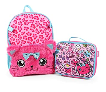 85fd052e56 Amazon.com  Kids Girls 16 Inch Backpack with Plush Kitty Cat with Lunch Bag  Set  The Treasure Attic