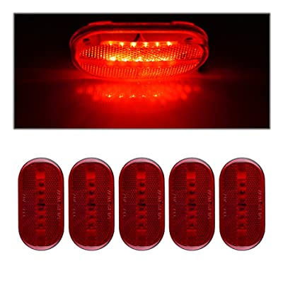 """Catinbow Red Side Marker Light, 4"""" x 2"""" 6 LED Clearance Light, Front Rear RV Truck Bus Boat Lamp Indicators - 5PCS: Automotive"""
