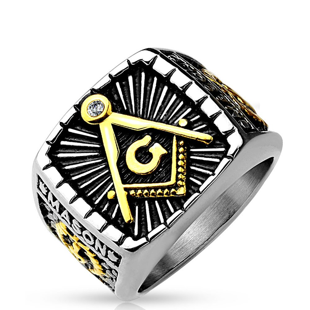 Stainless Steel Gold IP and Burnish 2-Tone Masonic Casted Ring with Ring Width of 9MM