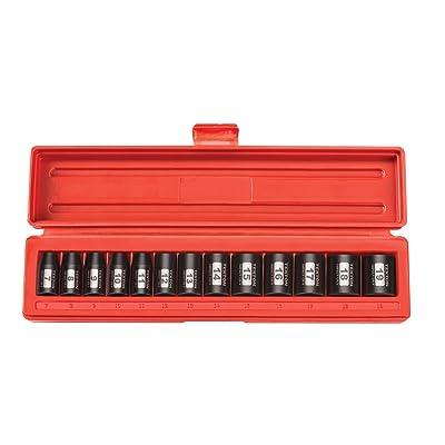 TEKTON 3/8-Inch Drive Shallow Impact Socket Set, Metric, Cr-V, 6-Point, 7 mm - 19 mm, 13-Sockets | 47915: Home Improvement