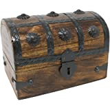 Nautical Cove Treasure Chest Keepsake and Jewelry Box Wood - Toy Treasure Box Large (6.5x4.5x5)