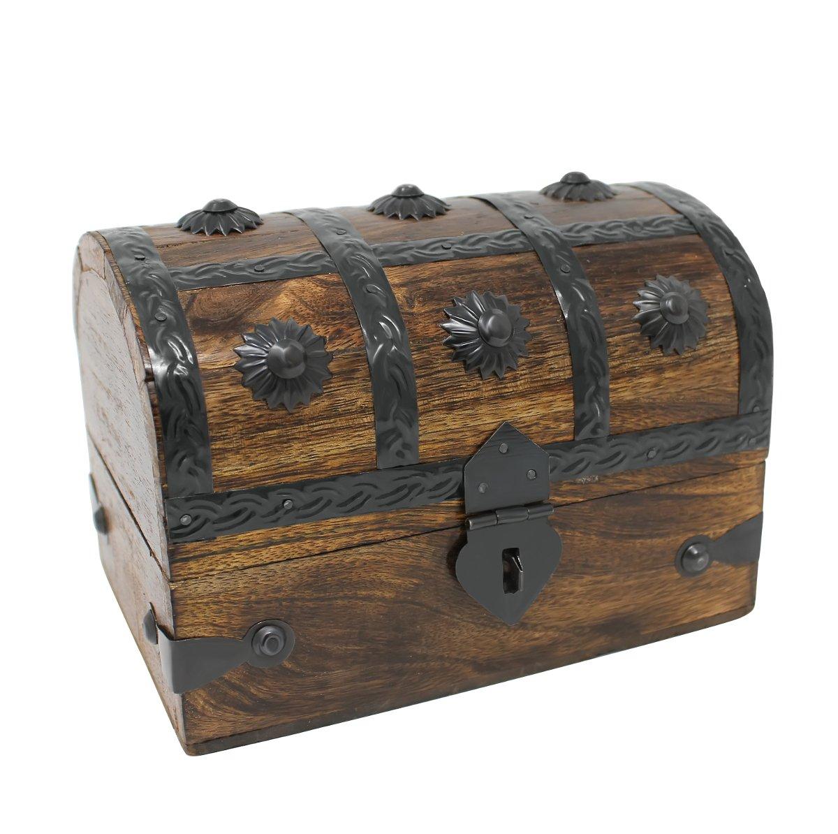 Nautical Cove Treasure Chest Keepsake and Jewelry Box Wood - Toy Treasure Box Large (6.5x4.5x5'')