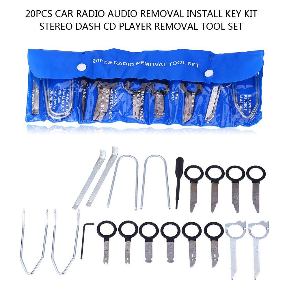 Radio Removal Tool 20pcs Universal Carbon Steel Car Radio Audio Removal Install Key Kit Stereo Dash CD Player Removal Tool Set