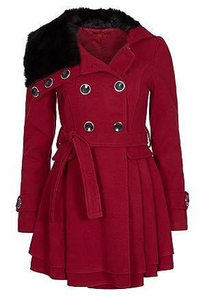 cheap for discount 3c4f0 f5a46 Laeticia Dreams Damen Mantel Jacke Winterjacke Mantel mit Fellkragen SML XL  XXL