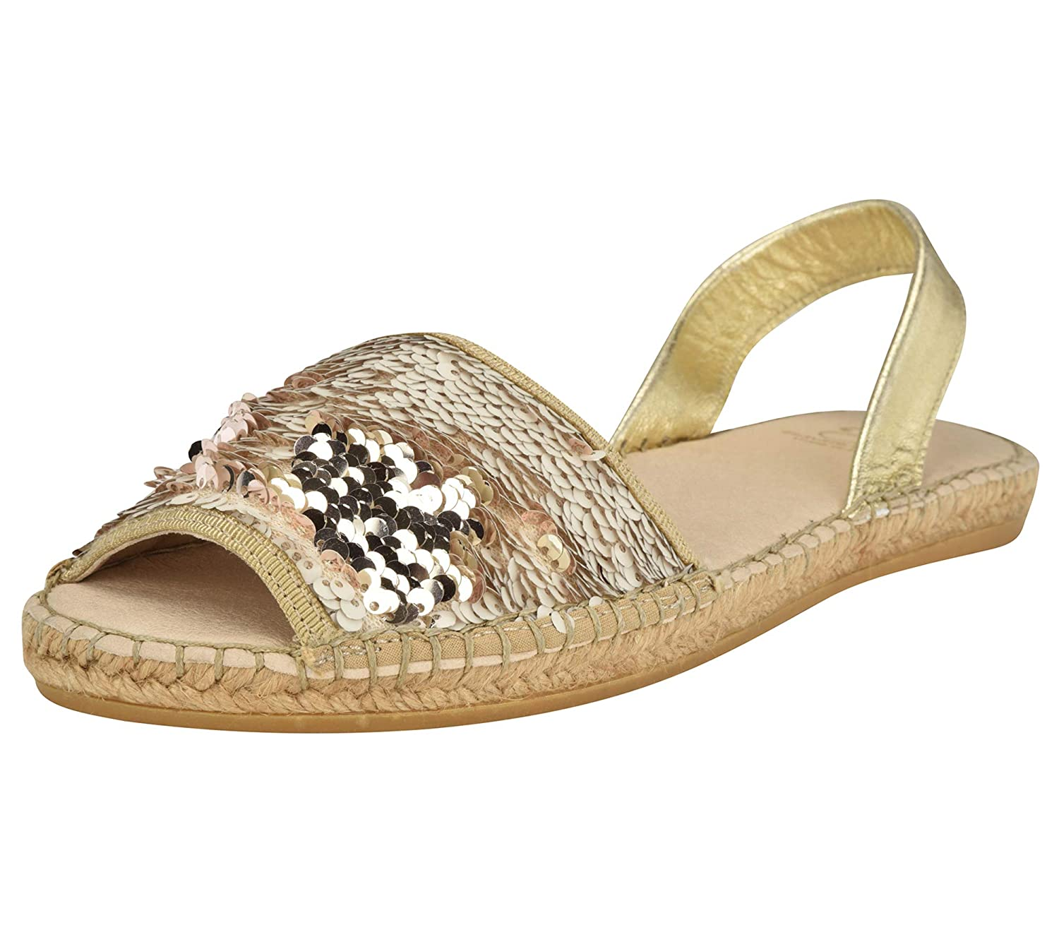 ba8462994 Ankle Strap Black Salmon-Silver/Rose Gold Sparkling Espadrille Slip-on  Shoes with Two Tone Embellished ...