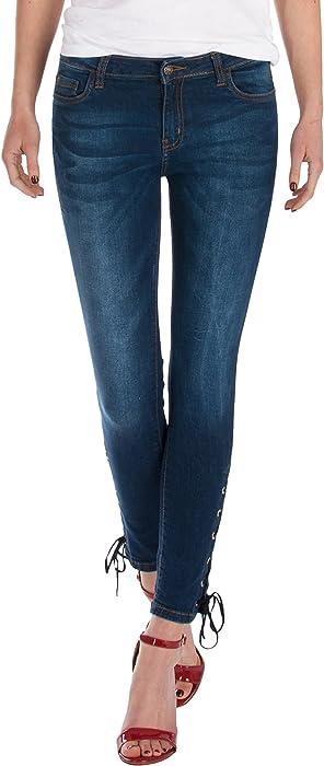 c7edf3d8b84a Fraternel Pantalones Vaqueros Mujer Skinny Pitillos Atados Azul ...