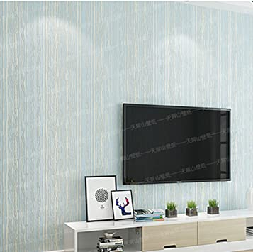 Amazon Com Wxl Modern Minimalist Non Woven Self Adhesive Wallpaper 3d Stereo Striped Bedroom Living Room Tv Background Wallpaper Solid Color 9 841 73ft Color Light Blue Furniture Decor