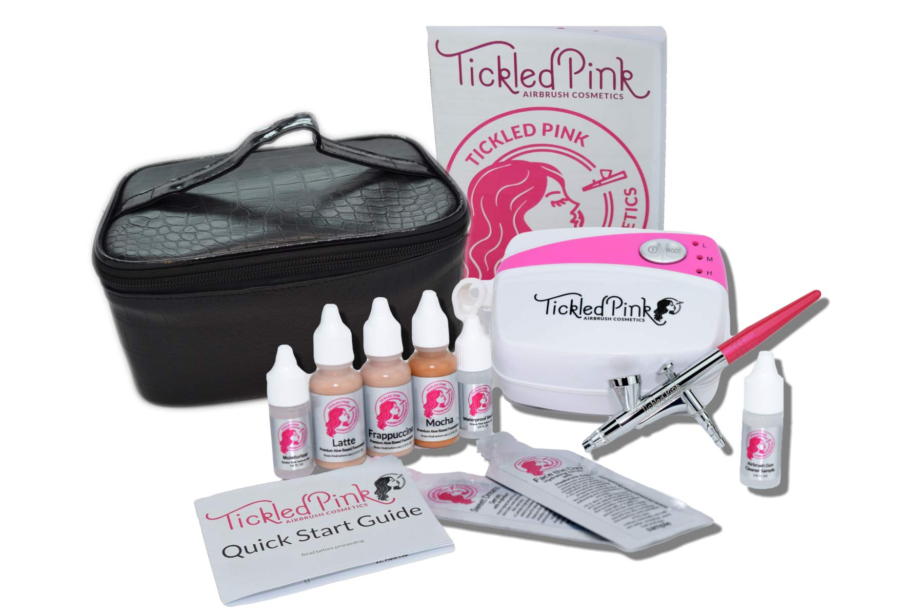 Tickled Pink Cosmetic Airbrush Makeup Kit with 89% Organic Water Based Makeup Infused with Organic Aloe Juice(Fair)