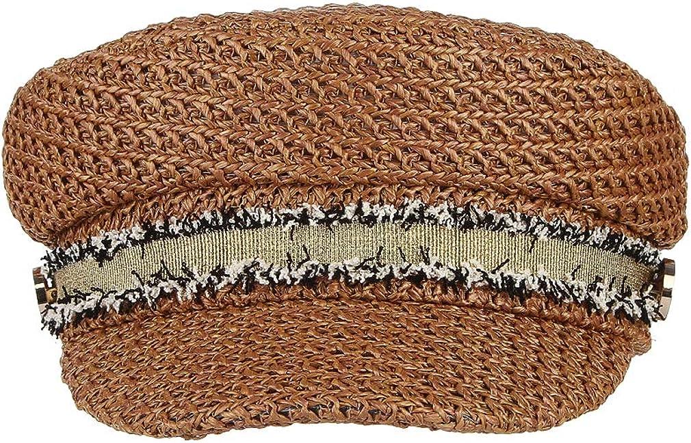 GEMVIE Women British Fisherman Hat Braided Mariner Style Sailor Hat Flat Top Visor Beret Hat Cap