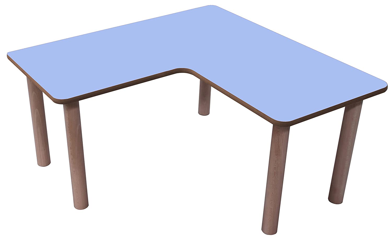 Mobeduc – Kindertisch in L, 90 x 90 cm, Holz 90 x 90 cm, Talla 3 Haya y Azul Lavanda