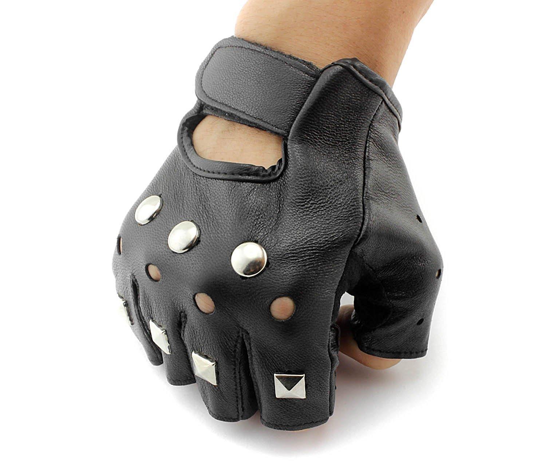 Men's Punk Rock Driving Motorcycle Biker Stud Real Leather Gloves G-12 xtom2013
