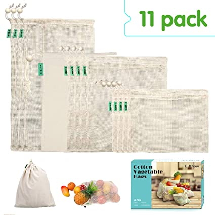 E-Know Bolsas Reutilizables,Juego de 11 Bolsas de algodón, Bolsas Biodegradables Natural Malla Algodón Fácil de Limpiar, Zero de Waste,Ecologicos (3 ...