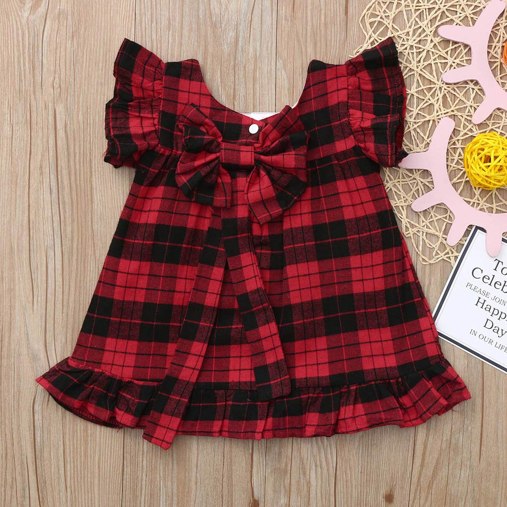 Baby Girl Clothes Dresses,0-4 Year Toddler Fly Sleeve Plaid Bow Dress 3-4 Years, Red