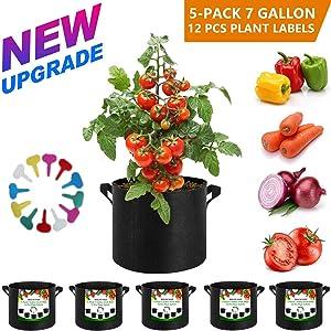 MSLNCORP 7 Gallon Grow Bags Garden 5-Pack 7 Gallon Grow Bags Fabric Planters Grow Bags Canvas Planter Bag Planter Bags Cloth Planter Bags Grow Bags (5-Pack 7 Gallon Grow Bags)