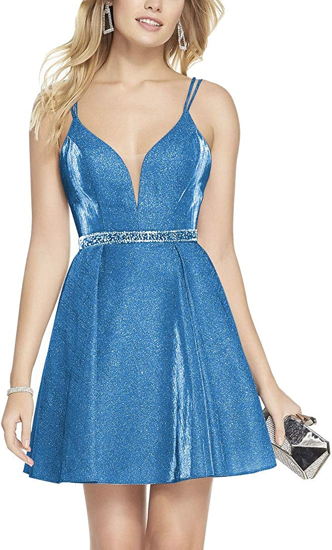 Hatail V Neck Homecoming Dresses Short for Juniors Satin Beaded Prom Dress  with Pockets