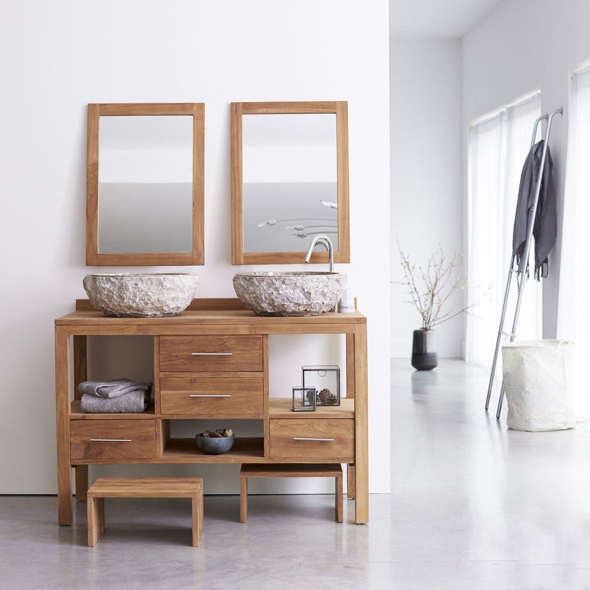 Waschtisch aus massivem Teak Holz Badunterschrank Badmöbel ...