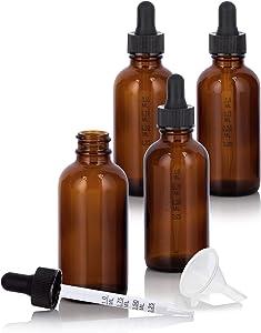 2 oz / 60 ml Amber Glass Boston Round Graduated Measurement Glass Dropper Bottle (4 pack) + Funnel