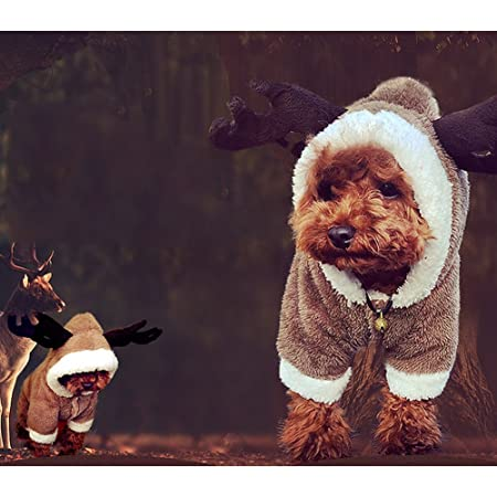 GossipBoy Cute Reindeer Deer Elk Design Dog Christmas Clothes Jerseys Pet  Costume Puppy Jumpsuit Outwear Coat Apparel Hoodie for Teddy 3f9954a32