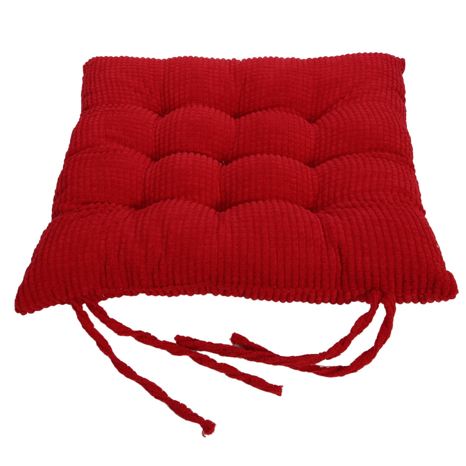 Corduroy Chair Pad - TKOOFN Expandable Polyethylene (EPE) Stuffed Seat Cushion [13.7x13.7inch] Square Chair Cushion for Home Furniture & Decor (package of 1, Coffee) FBA_A15013570