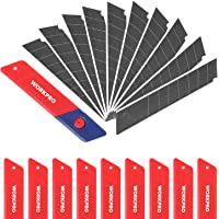 WORKPRO 100 Pack Snap Off Utility Knife Blades, Rust Proof 18mm SK5 Steel Sharp Heavy Duty Replacement Box Cutter Blades