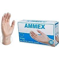 AMMEX Medical Clear Vinyl Gloves -  4 mil, Latex Free, Powder Free, Disposable, Non-Sterile, Medium, VPF64100-BX, Box of 100