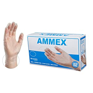 AMMEX Medical Clear Vinyl Gloves -4 mil, Latex Free, Powder Free, Disposable, Non-Sterile, Large, VPF66100-BX, Box of 100