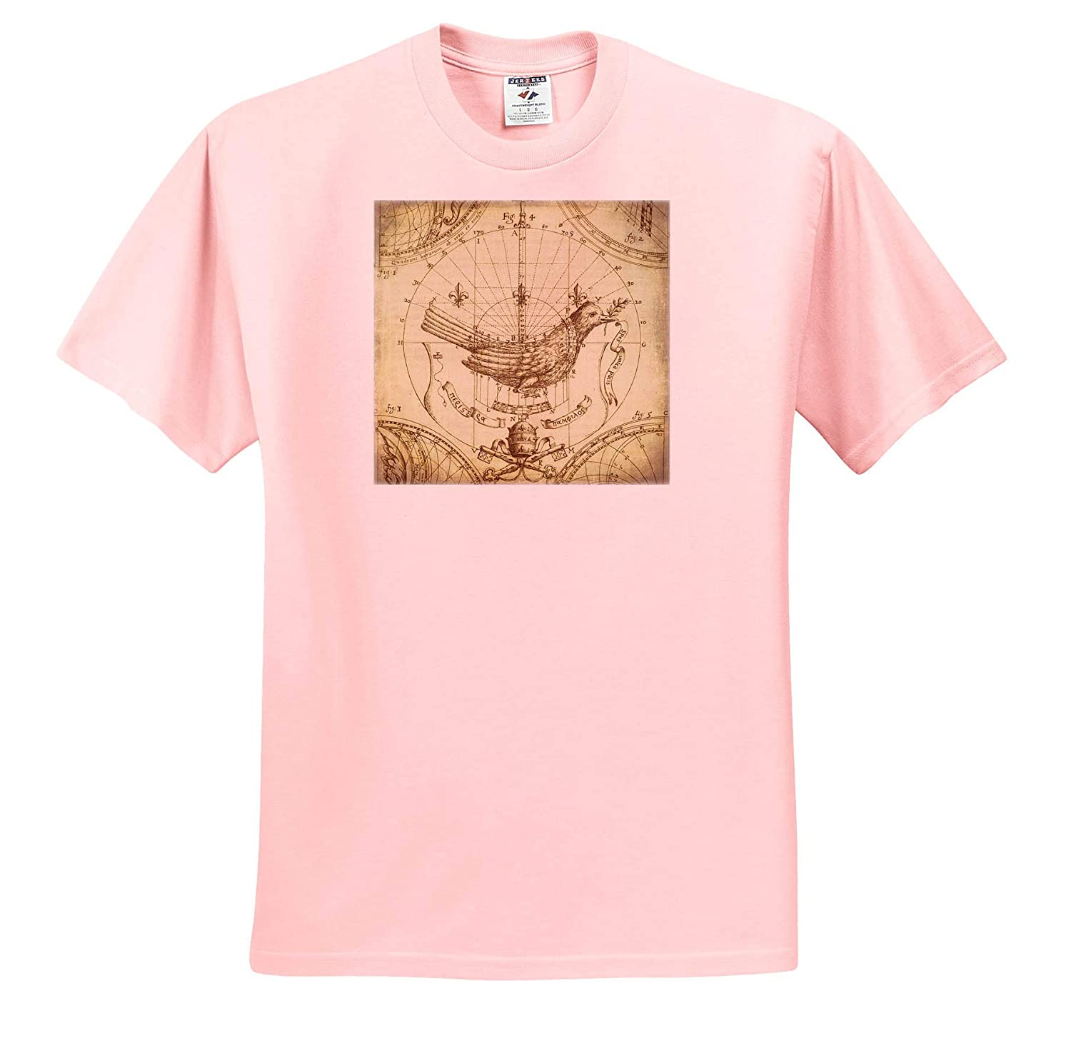 Adult T-Shirt XL 3dRose Andrea Haase Vintage Illustration Vintage Illustration Drawing with Charts and Bird ts/_318581
