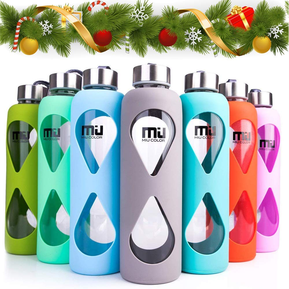 MIU COLOR Silicone Glass Water Bottle BPA PVC Plastic and Lead Free Grass Green