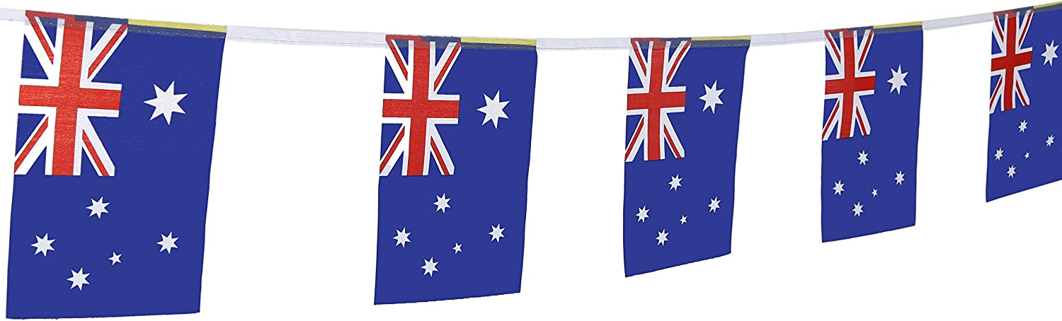 "TSMD 100 Feet Australia Australian Flag 76Pcs Indoor/Outdoor National Country Flags,Party Decorations for Olympics,World Cup,Bar,Sports Event,International Festival(8.2"" x 5.5'')"