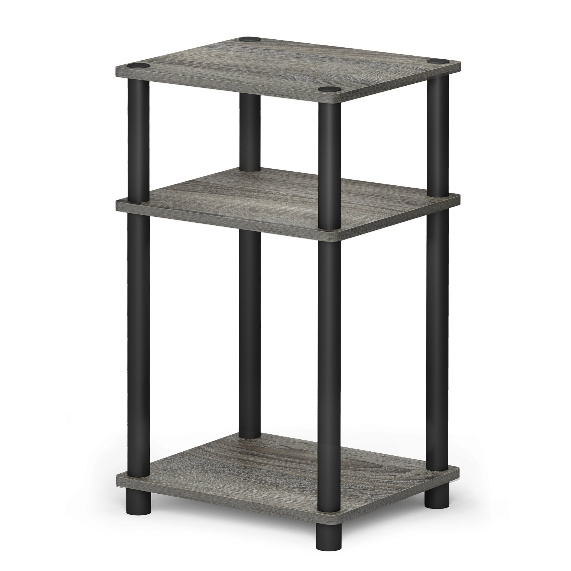 FURINNO 11087GYW/BK JUST Turn-N-Tube 3-Tier End Table, 1-Pack, French Oak Grey/Black by Furinno