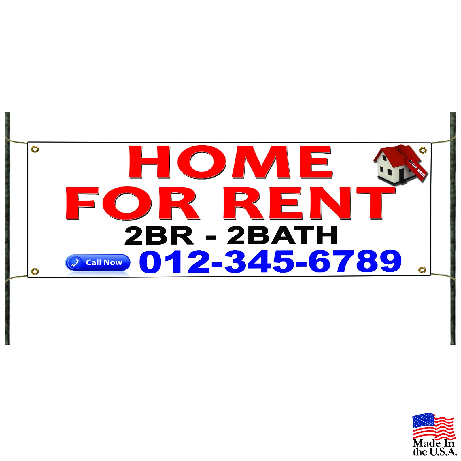 Home For Rent 2 Br-2 Bath Banner Sign Apartment Commercial Business Advertising