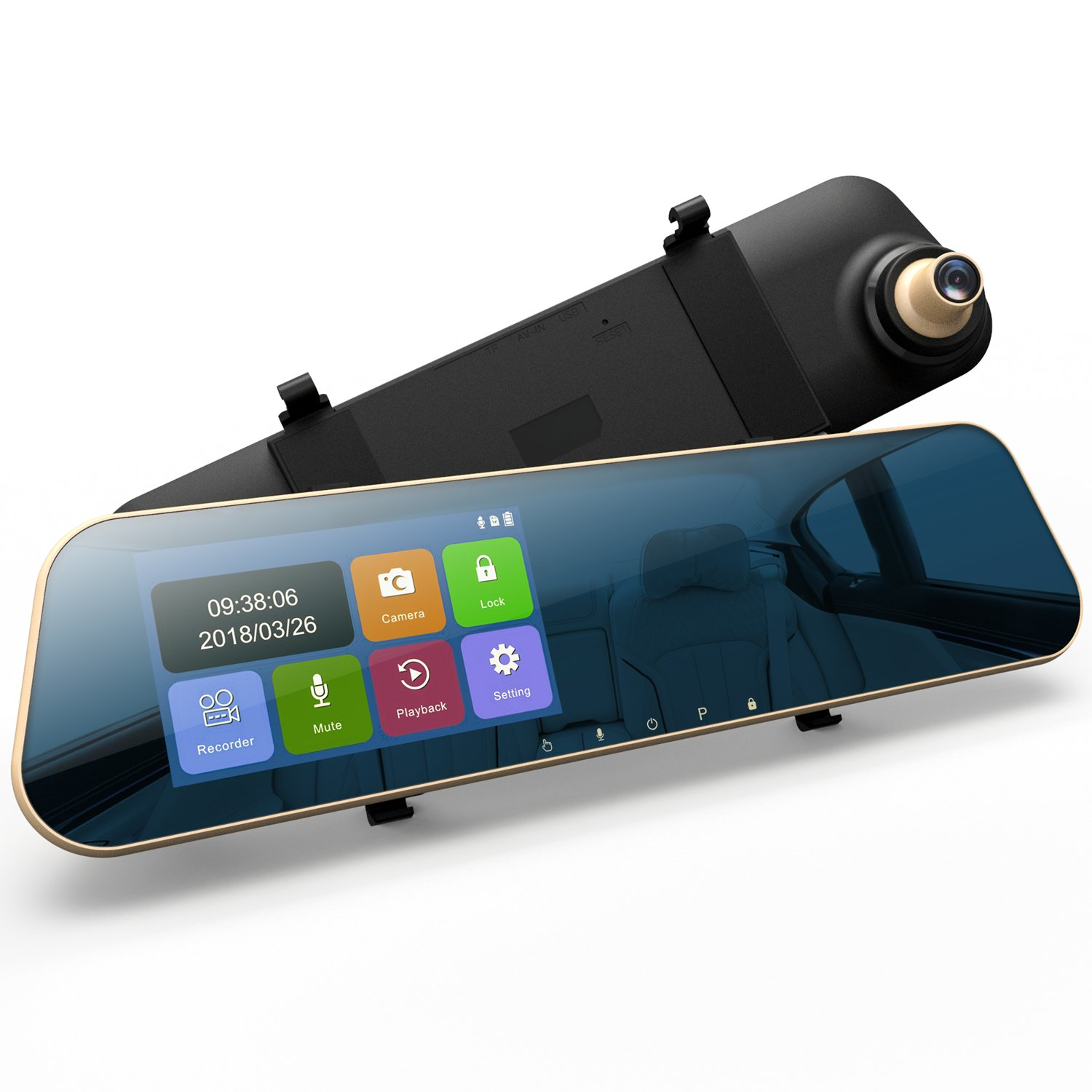 "DuDuBell Mirror Dash Cam, 4.3"" Touch Screen Car Dash Cam 1080P 290° Wide Angle Mirror DVR, Dual Dashboard Recorder with 6G HDR Night Vision Front Cam and IP 68 Waterproof LED Rear Backup Cam"