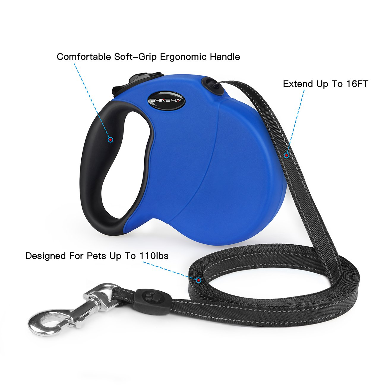 SHINE HAI Retractable Dog Leash, 16ft Dog Walking Leash for Large Medium Small Dog Up to 110lbs, Break & Lock System, Reflective Ribbon Cord, Blue by SHINE HAI (Image #2)