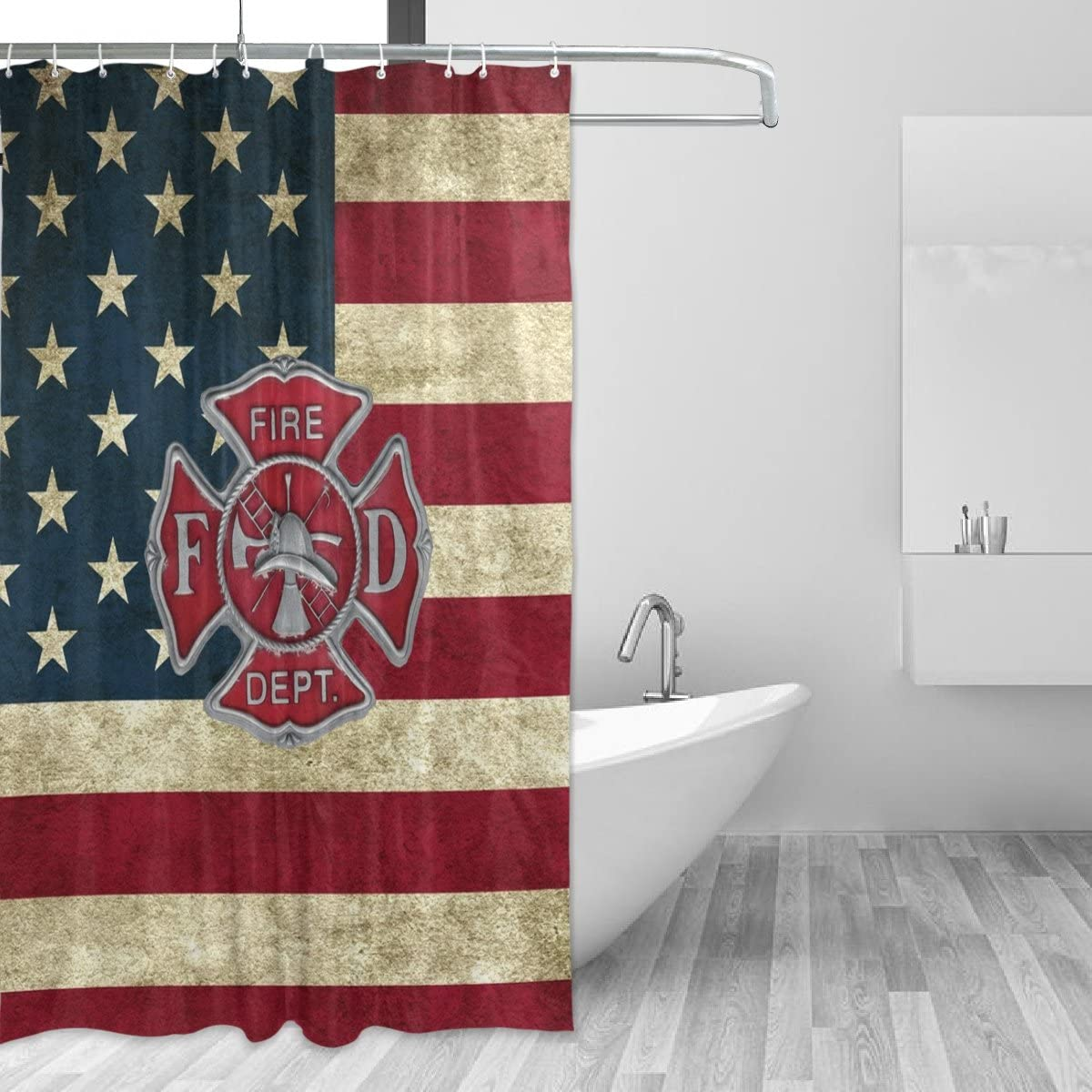 """Donnapink Fire Department Logo Firefighter Waterproof 60""""X72"""" Shower Curtain Polyester Fabric Bathroom Bath Sets"""