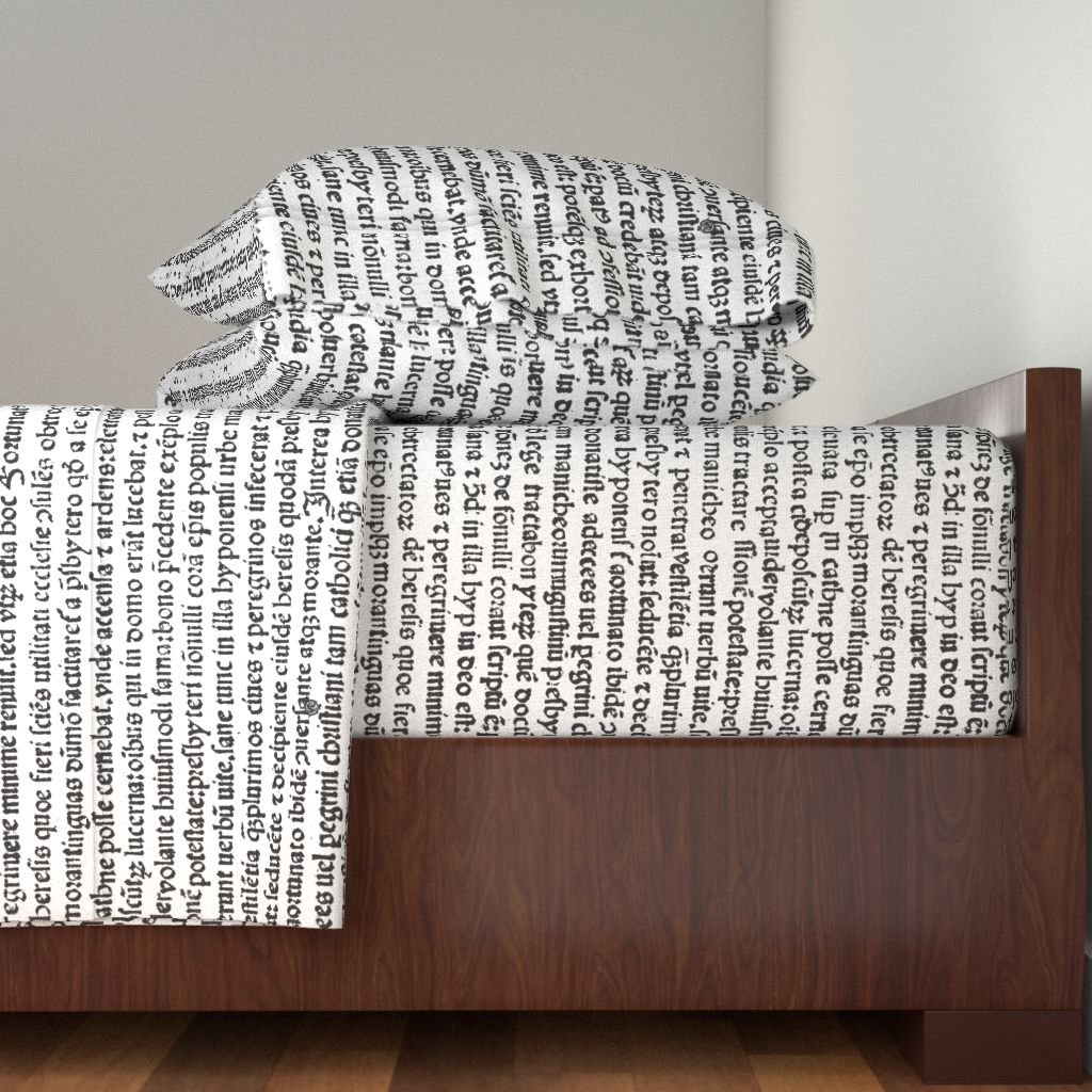 Roostery Text 4pc Sheet Set Ancient Parchment - Black & White by Peacoquettedesigns Queen Sheet Set made with by Roostery