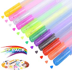12PCS 3D Glossy Jelly Ink Pen Set, Sparkled Assorted Colors Gel Pens, Artist Gel Pens to Decorate Cards and Tags