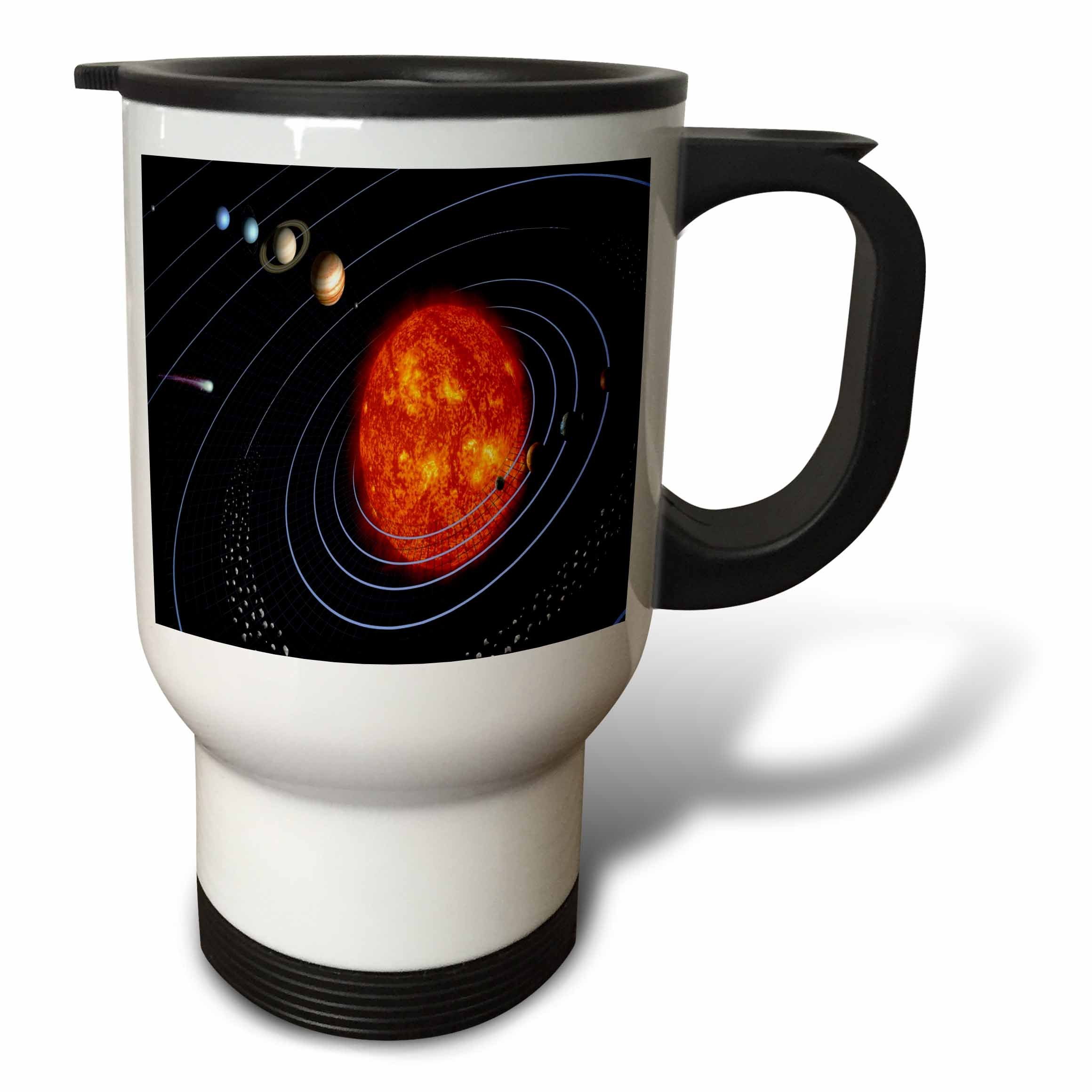 3dRose tm_80606_1 Nasa Diagram of Planet and Solar System Travel Mug, 14-Ounce, Stainless Steel