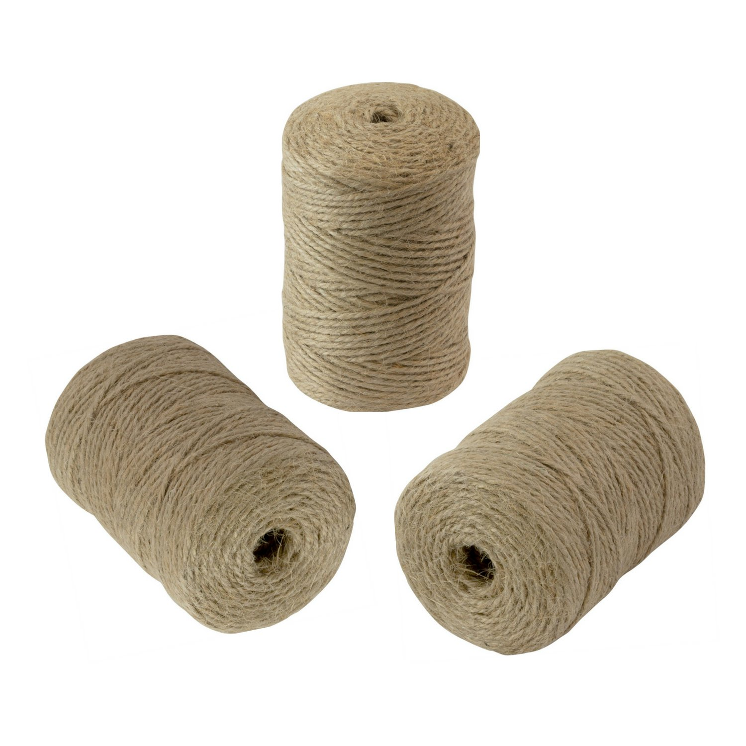 Houseables Jute Twine String, 1,980 Feet, 3 Rolls (660'/Roll), 2mm, 3 Ply, Brown, Burlap Twill Ribbon, Natural Hemp, Thin Garden Rope, Sisal Decorative Cord, for DIY Craft, Packing, Gifts, Wrapping