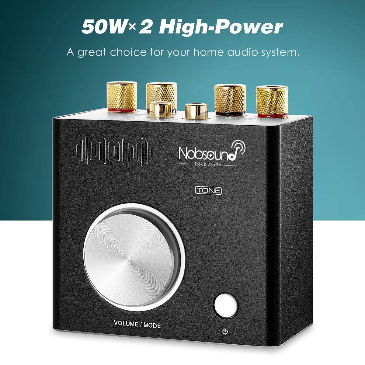 50Wx2 Nobsound Tone 100W Home Stereo Speaker System Sound Level Black Multifunctional Bluetooth Hi-Fi Audio Amp,Headphone Amplifier RCA AUX USB
