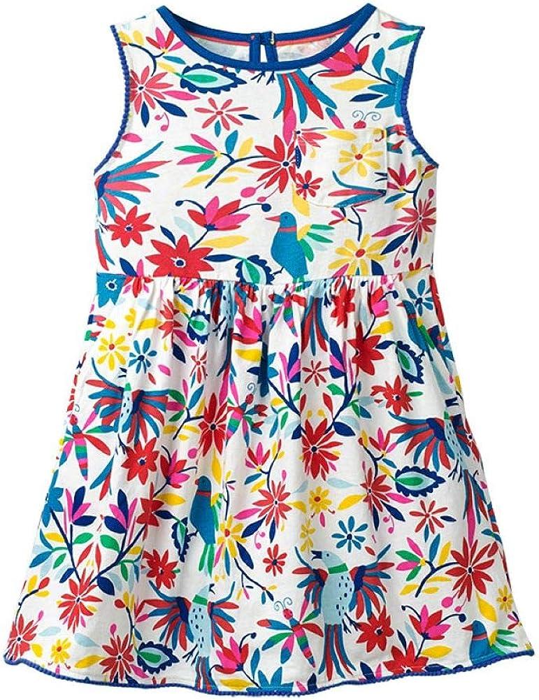 WRHPZW Little Girls Summer Casual Dresses Cotton Short Sleeves Flower Sundress for Size 1-12Y