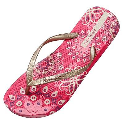 Hotmarzz Damen Zehentrenner Böhmen Blumen Sommer Sandalen Flip Flops Badeschuhe Size 34 EU/35 CN, Silber