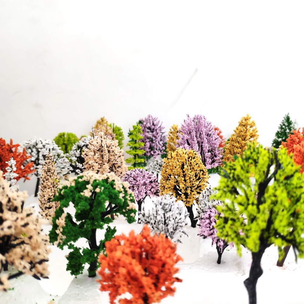 Amazon.com: 30pcs Mixed Model Trees 1.57-4.72inch Fake Trees ...