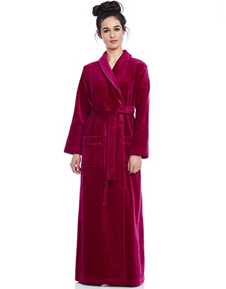 f83575c66d Long Women s Terry Cotton Bath Robe - Toweling with Belt - Floral ...